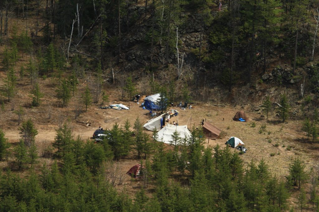 Aerial View of encampment on Eagle Rock by Chauncey Moran