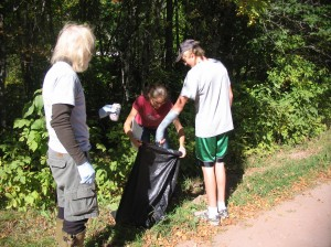 Last year's participants rounding up the junk