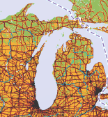 Map showing major roadways in Michigan