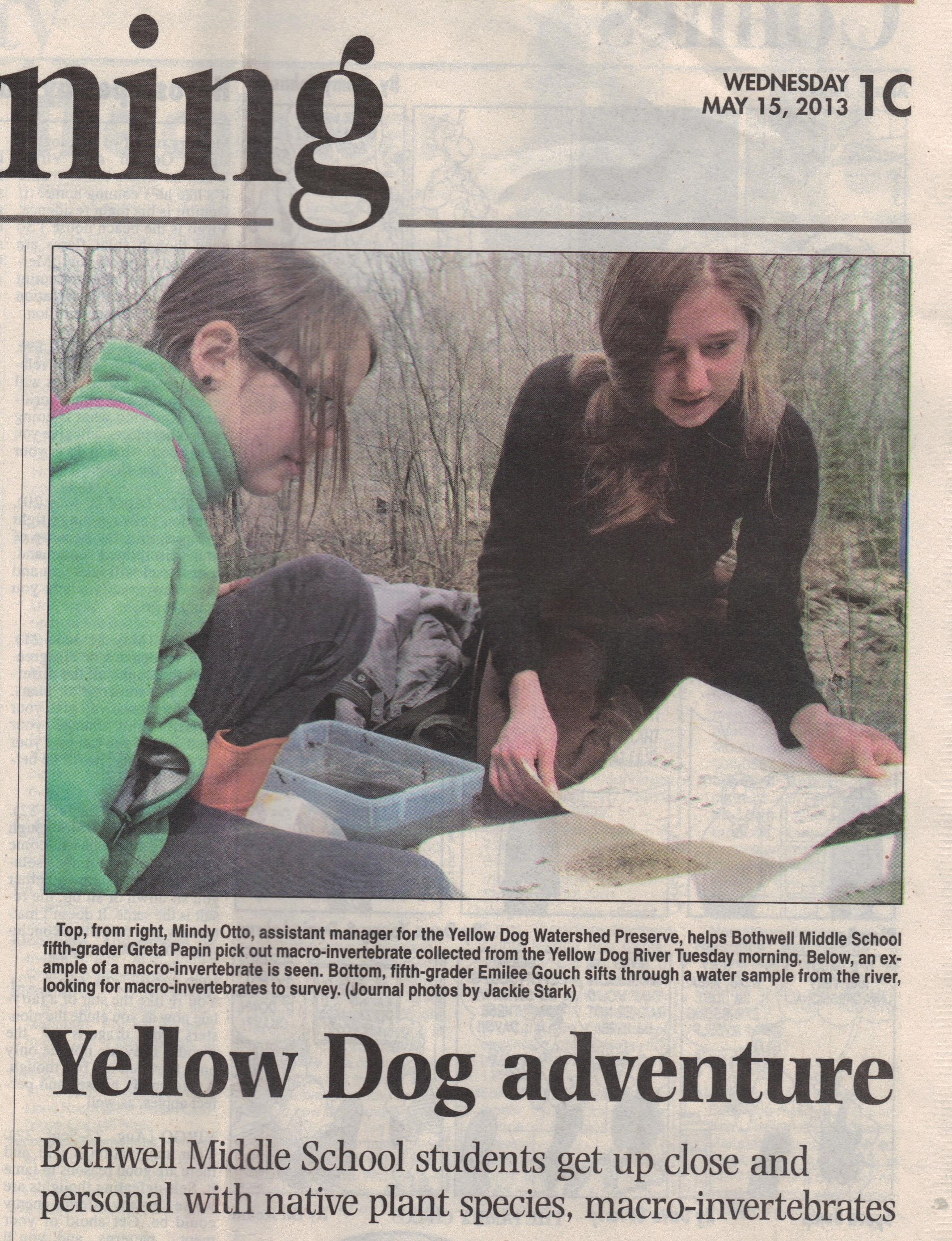 Bothwell Middle School learns about macroinvertebrates at the Yellow Dog River