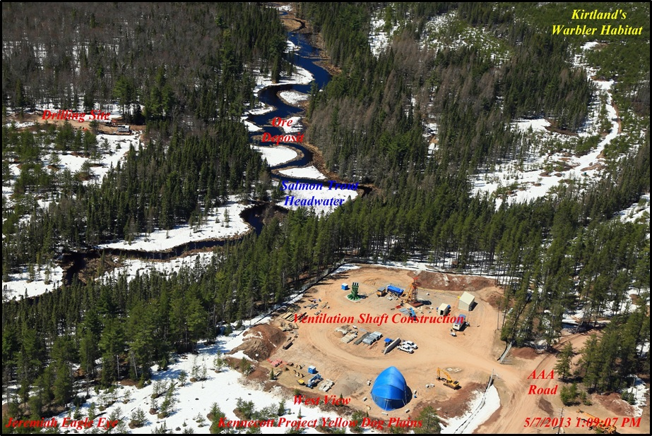 Construction of the Main Ventilation Air Raise, the only vent to the surface for underground operations at Eagle Mine.