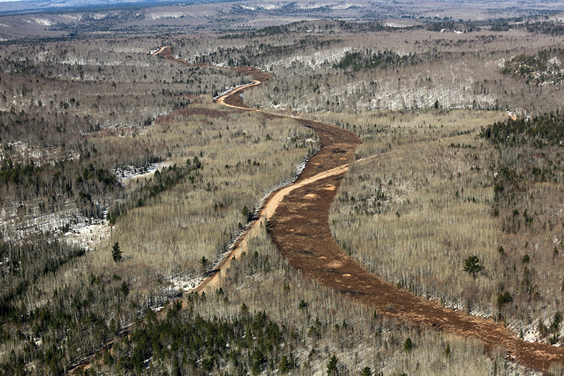 Aerial photo of the Lundin Eagle Mine haul road construction in late May 2014