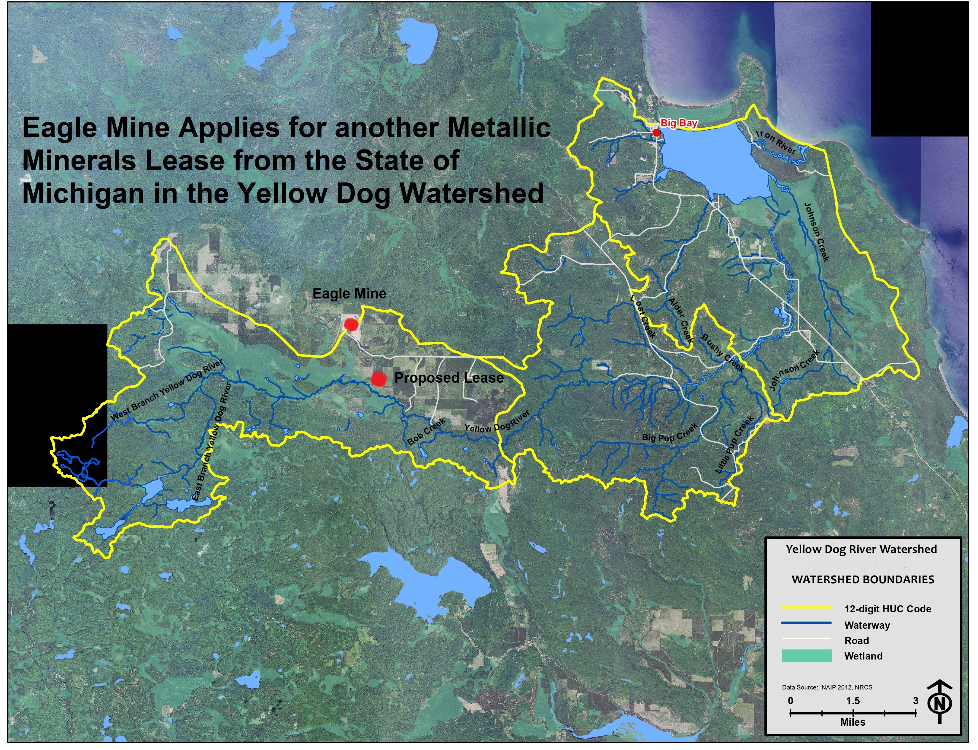 Eagle Mine Applies for another Metallic Minerals Lease from the state of Michigan in the Yellow Dog Watershed.