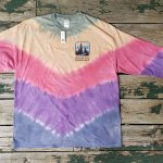 Green/beige/pink/purple/blue long-sleeve tie-dye