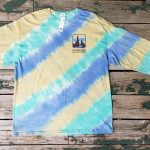 Green/yellow/blue long-sleeve tie-dye