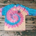 Blue/pink/yellow long-sleeve tie-dye